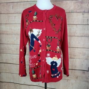 Quacker Factory Ugly Christmas Sweater w Angels